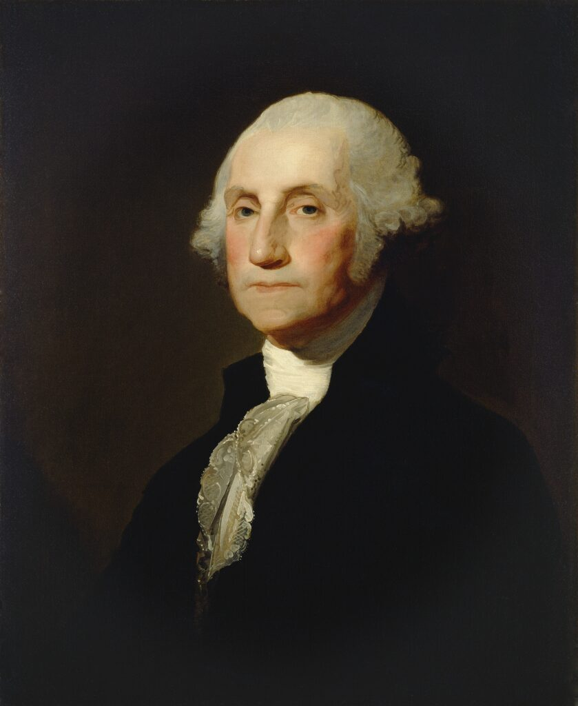 This oil-on-canvas painting of George Washington is by Gilbert Stuart, done about 1803-1805.
