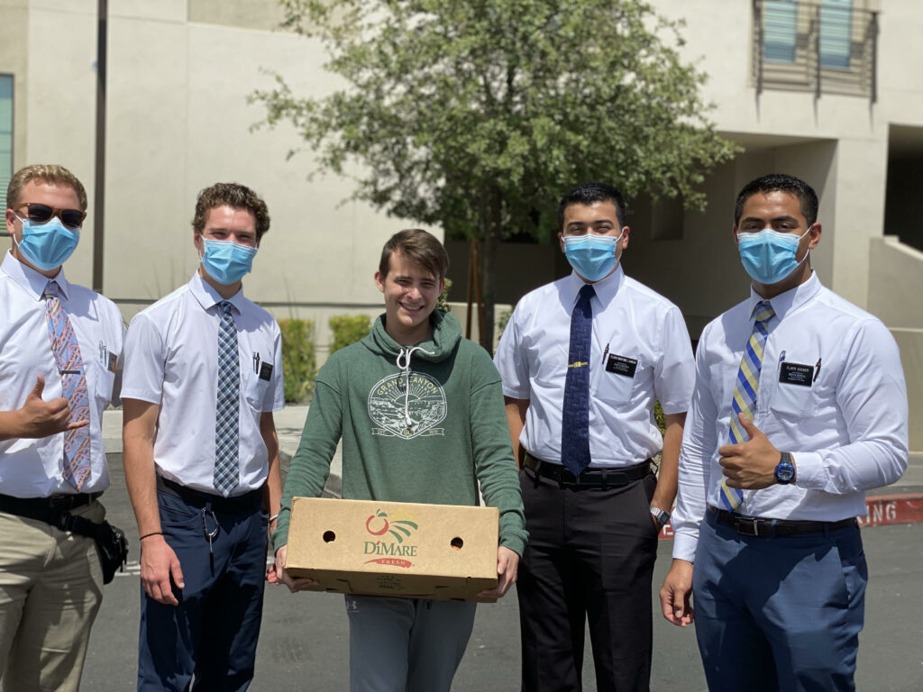 Missionaries participate in the Feed My Sheep food initiative that brings relief to food-insecure immigrants in the greater Phoenix, Arizona, region.