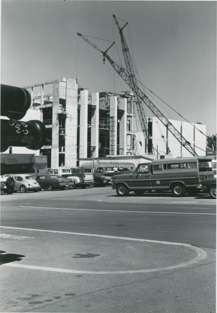 Historical photo from the early 1970s of construction of Brigham Young University's J. Reuben Clark School of Law.