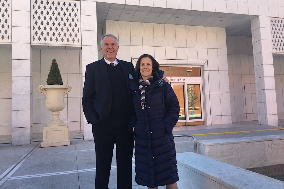 Elder Dan Hull and his wife, Sister Martha Hull, are pictured in front of the Madrid Spain Temple during their recent family history mission to Spain.