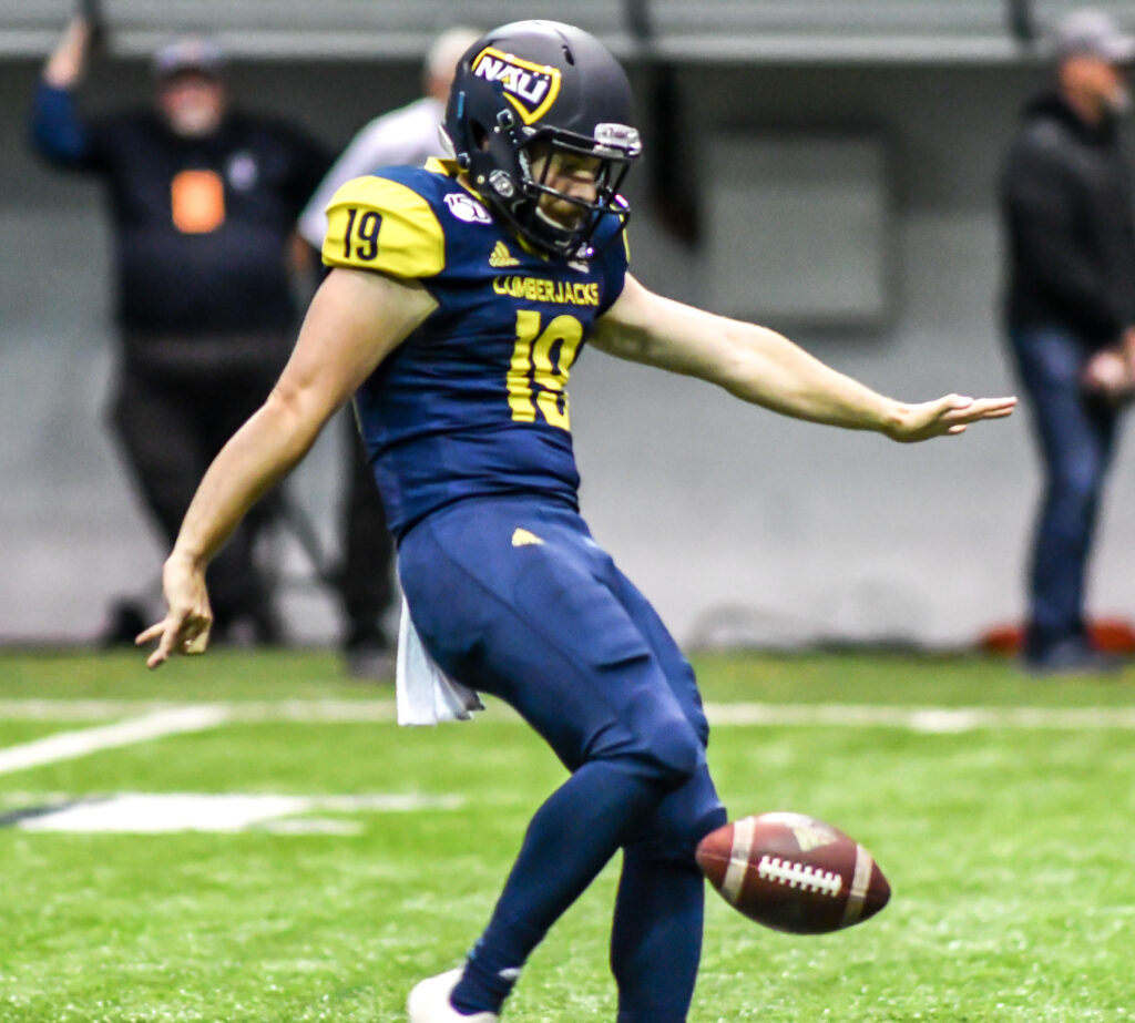Following his mission to Brazil, DJ Arnson walked on as a punter at Northern Arizona University. He has gone on to earn All-American honors and become a team leader.