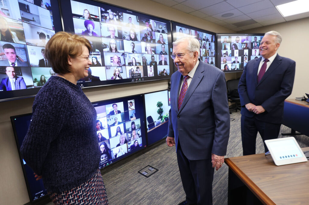 President M. Russell Ballard, Acting President of the Quorum of the Twelve Apostles, center; Elder Brent Nielson of the Presidency of the Seventy, right; and Sister Sharon Eubank, first counselor in the Relief Society general presidency, left; talk priorate participating in a devotional videoconference with young single adults from the Church Office Building in Salt Lake City on Sunday, March 7, 2021.