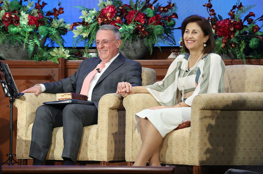 Elder Ulisses Soares, of The Church of Jesus Christ of Latter-day Saints' Quorum of the Twelve Apostles, and his wife Sister Rosana Soares speak during a devotional broadcast from the Church Office building in Salt Lake City on Sunday, March 21, 2021.