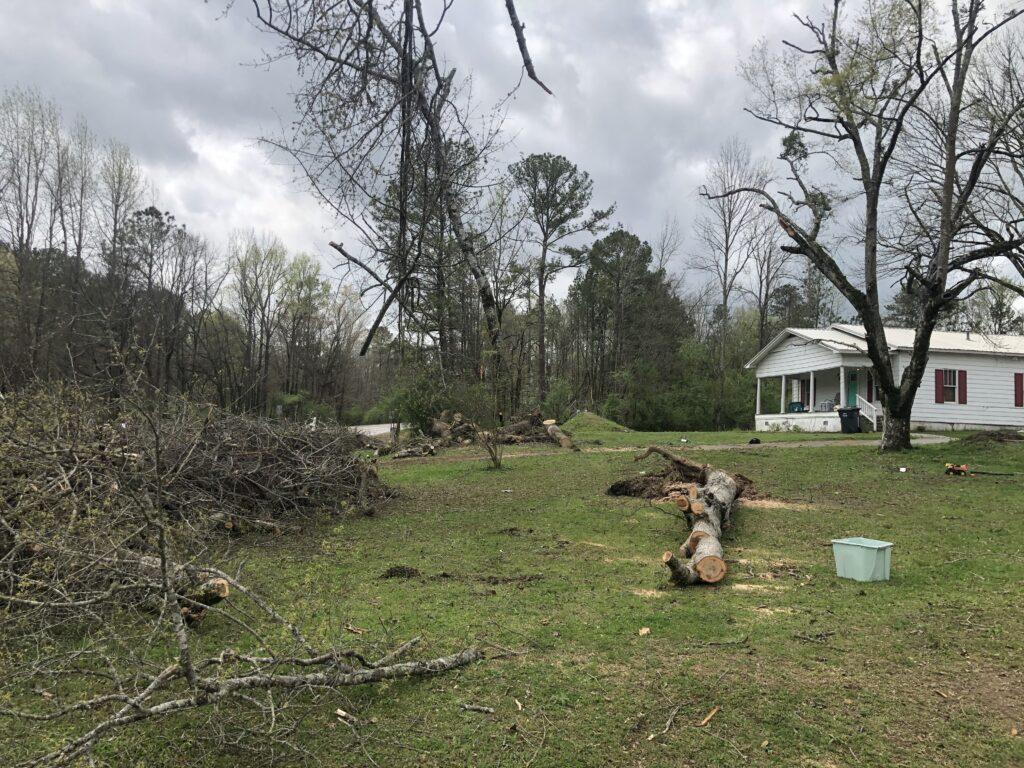Members of the Birmingham Alabama Stake helped the family of this home in Calera, Alabama, remove fallen trees and debris from their yard following a severe storm on March 25, 2021, producing high winds and several tornadoes.