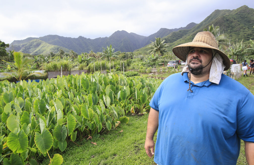 Johnny Feinga walks his farmland on Saturday, March 20, 2021, on the Laie Hawaii Crops Farm in Hauula, Hawaii. Laie Hawaii Crops Farm is comprised of 178 acres that are divided into farmable plots, ranging in sizes up to 1 1/4 acres. Throughout the COVID-19 pandemic, the farmland has been a vital part of feeding the church community and their families who take care of the land.