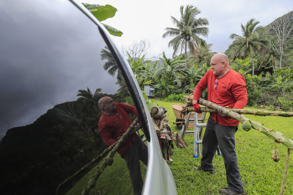 Farmer Justin Marshall cleans up papaya tree stalks on his farmland on Saturday, March 20, 2021, on the Laie Hawaii Crops Farm in Hauula, Hawaii. Laie Hawaii Crops Farm is comprised of 178 acres that are divided into farmable plots, ranging in sizes up to 1 1/4 acres. Throughout the COVID-19 pandemic, the farmland has been a vital part of feeding the church community and their families who take care of the land.