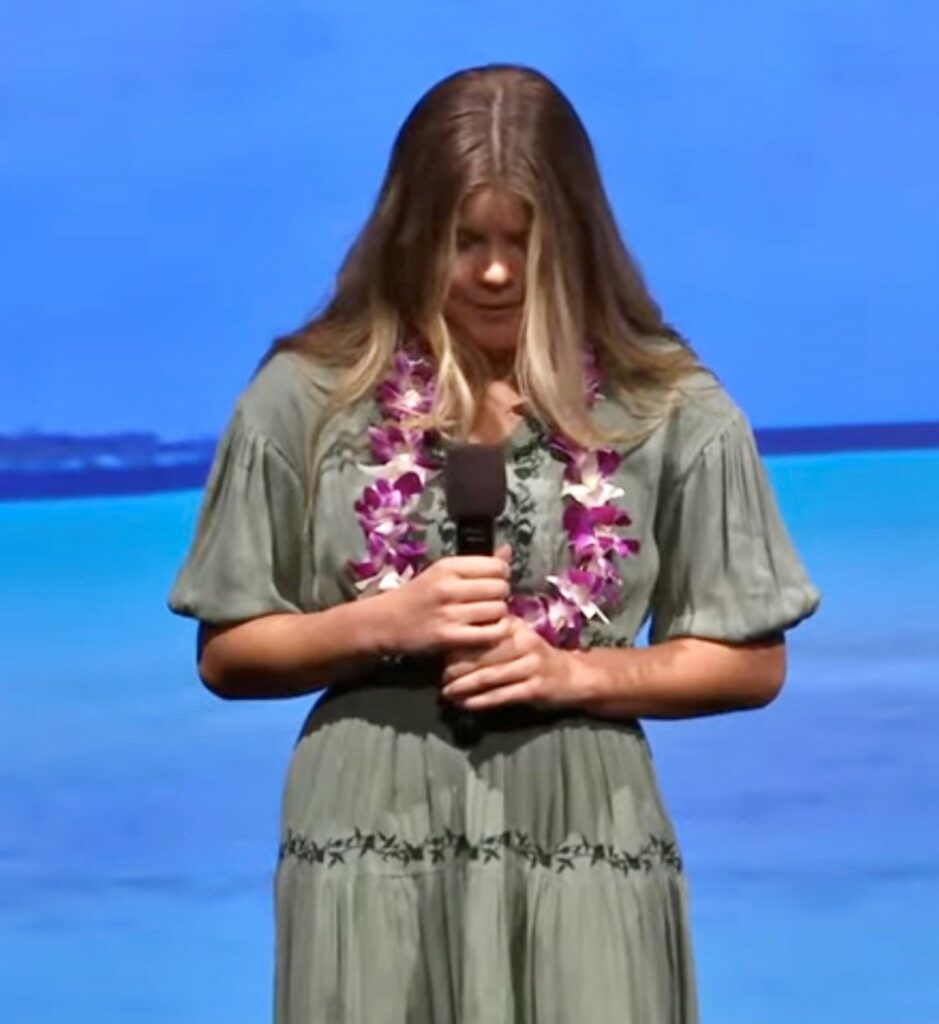Maggie MacPherson, granddaughter of Elder Ronald A. Rasband and Sister Melanie T. Rasband, offers the invocation at the March 13, 2021, devotional for young adults in the Pacific, Asia, Asia North and Philippines areas.