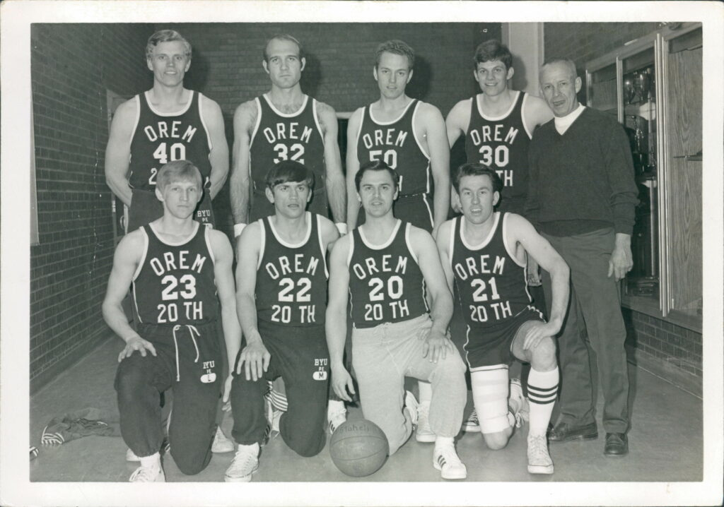 The Orem 20th Ward M-Mens Basketball team claimed the 1971 All-Church Basketball Tournament. Back row, from left, Ron Carling, KC Abney, Russell Jorgensen, Tom Jones. Front, from left, Del Moody, Dennis Ray, Gary Shumway, player-coach Larry Schlappi. The annual tournament was discontinued a short time later.