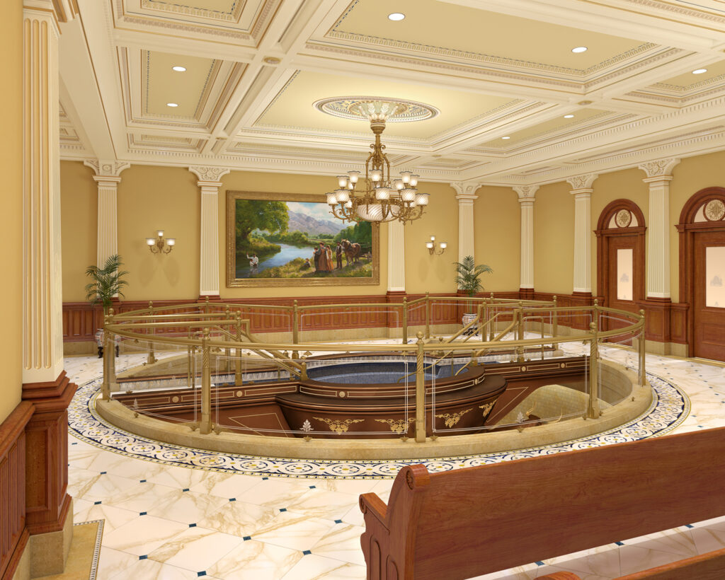 A rendering of one of two baptistries that will be built in the renovated Salt Lake Temple
