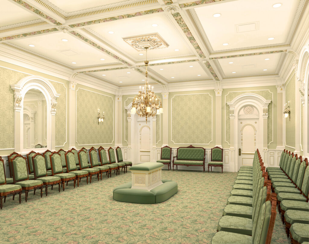 A rendering of one of the 10 new sealing rooms that will be built in the renovated Salt Lake Temple. There will be 23 total sealing rooms.