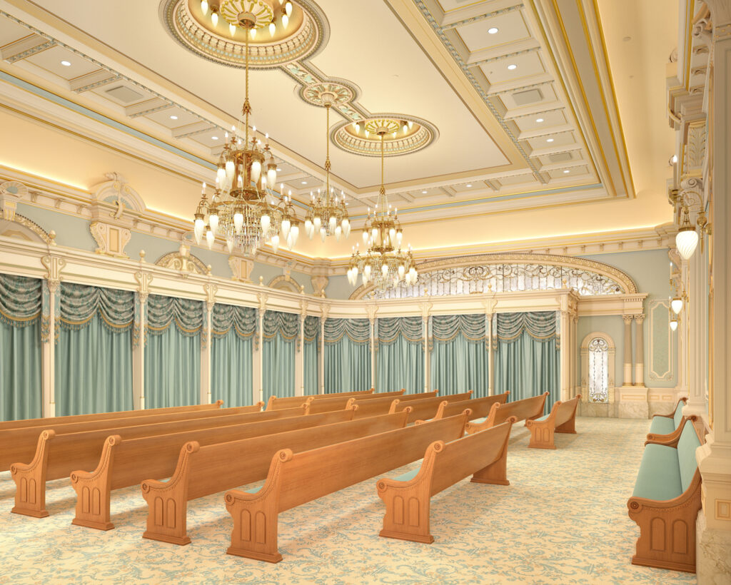 A rendering of endowment room in the renovated Salt Lake Temple