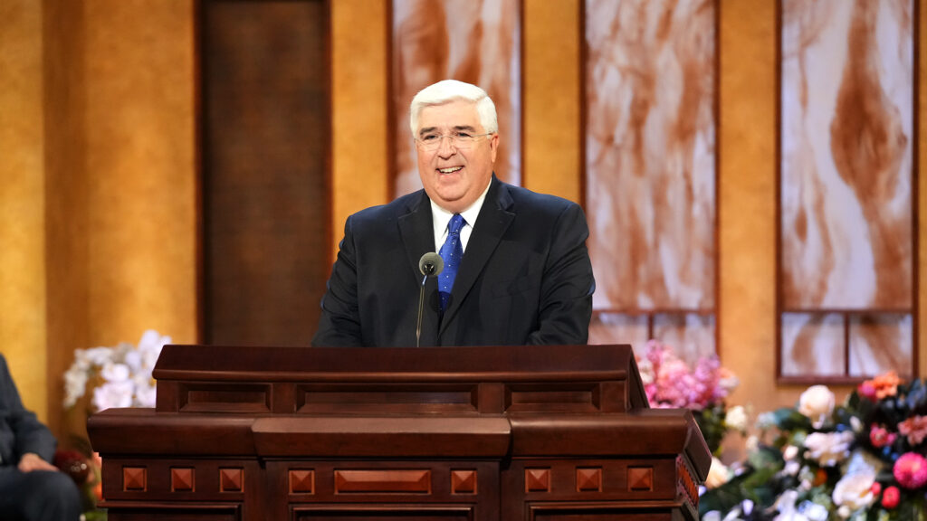 Elder José A. Teixeira of the Presidency of the Seventy speaks during the Sunday morning session of the 191st Annual General Conference on April 4, 2021.
