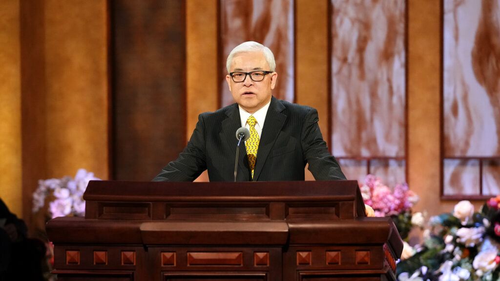 Elder Chi Hong (Sam) Wong, a General Authority Seventy, speaks during the Sunday morning session of The Church of Jesus Christ of Latter-day Saints' 191st Annual General Conference in Salt Lake City on April 4, 2021.