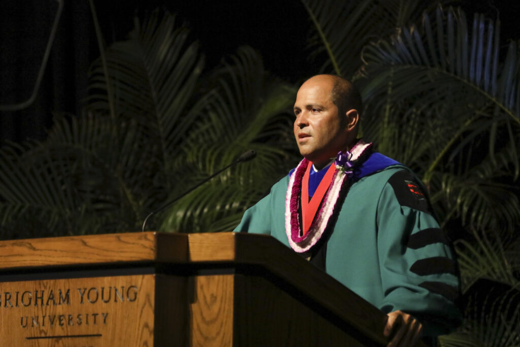 BYU–Hawaii President John S.K. Kauwe III speaks during a virtual commencement ceremony broadcast on Saturday, April 17, 2021.