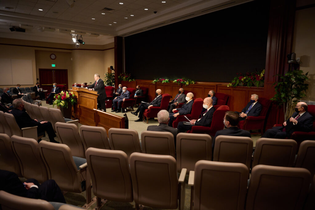 Elder Jeffrey R. Holland conducts a leadership meeting at the Church Office Building auditorium on Thursday, April 1, 2021.