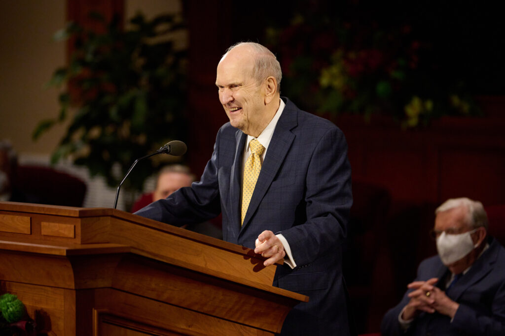 President Russell M. Nelson speaks to some 300 General Authorities, General Officers and Area Seventies at a leadership meeting at the Church Office Building auditorium on Thursday, April 1, 2021.