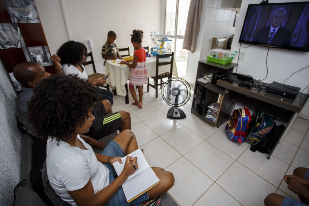 A family in Brasilia, Brazil, watches a session of The Church of Jesus Christ of Latter-day Saints' 191st Annual General Conference, which was broadcast from Salt Lake City on Saturday, April 3, and Sunday, April 4, 2021.