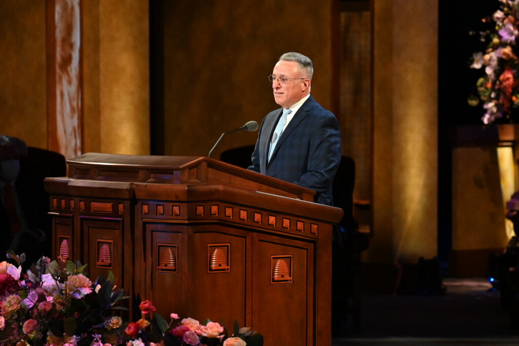 Elder Ulisses Soares of the Quorum of the Twelve Apostles speaks during the Sunday morning session of the 191st Annual General Conference on April 4, 2021.