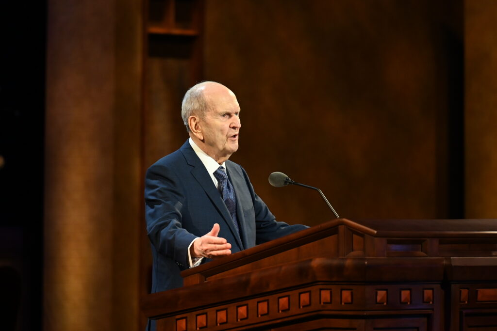 President Russell M. Nelson speaks during the Sunday morning session of the 191st Annual General Conference on April 4, 2021.