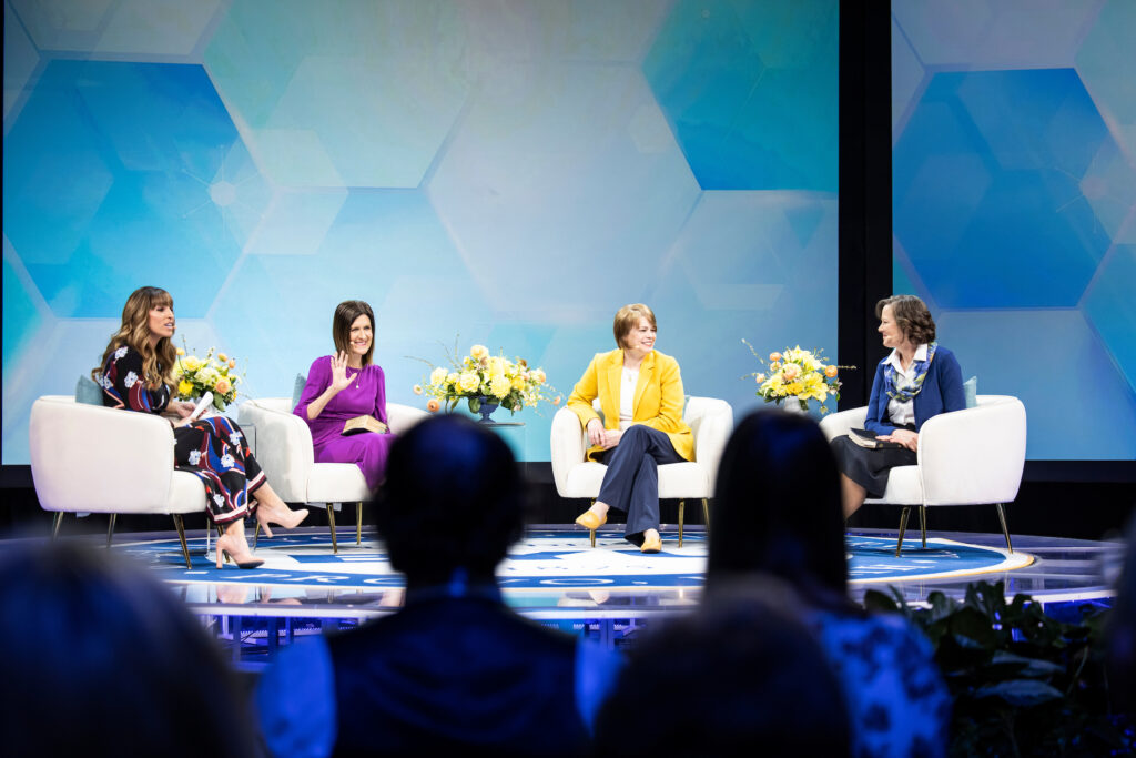 Sister Michelle Craig, middle left, smiles at the start of the BYU Women's Conference Sister to Sister event on April 30, 2021, with Sister Sharon Eubank and Sister Susan Porter. The event was moderated by Irene Caso, left.