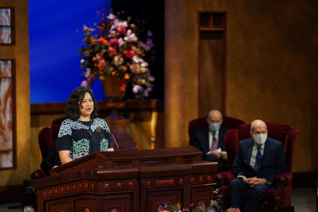 Sister Reyna Isabel Aburto, second counselor in the Relief Society general presidency, speaks during the Sunday morning session of The Church of Jesus Christ of Latter-day Saints' 191st Annual General Conference on April 4, 2021.