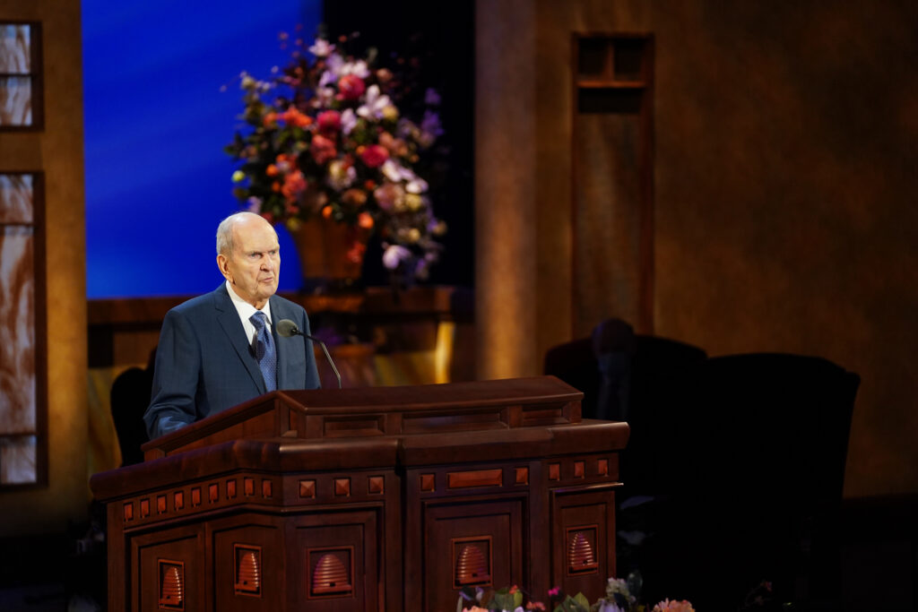 President Russell M. Nelson speaks during the Sunday morning session of The Church of Jesus Christ of Latter-day Saints' 191st Annual General Conference in Salt Lake City on April 4, 2021.