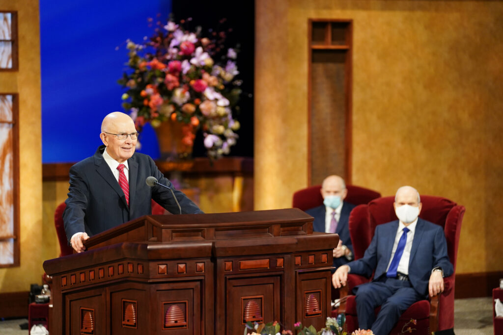 President Dallin H. Oaks speaks during the Sunday afternoon session of the 191st Annual General Conference on Sunday, April 4, 2021.