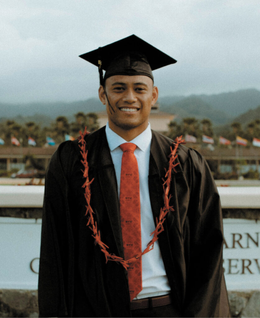 Alailima Archie George Key from New Zealand graduated from BYU–Hawaii on April 17, 2021, following a year of the pandemic.