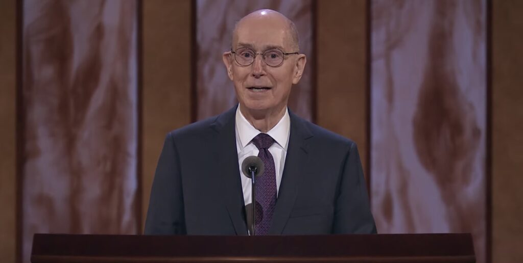 President Henry B. Eyring, second counselor in the First Presidency, speaks during the Saturday morning session of the 191st Annual General Conference on April 3, 2021.