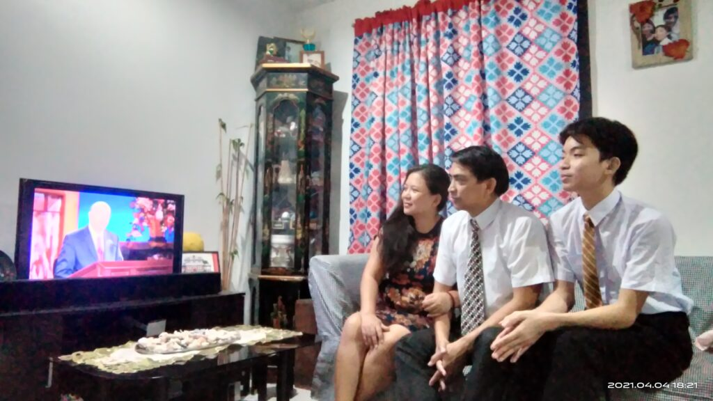 Santa, Joseph, and Janley Molina of the Eastwood Ward, Montalban Philippines Stake, watch a session of the 191st Annual General Conference of The Church of Jesus Christ of Latter-day Saints on Saturday, April 3, 2021.