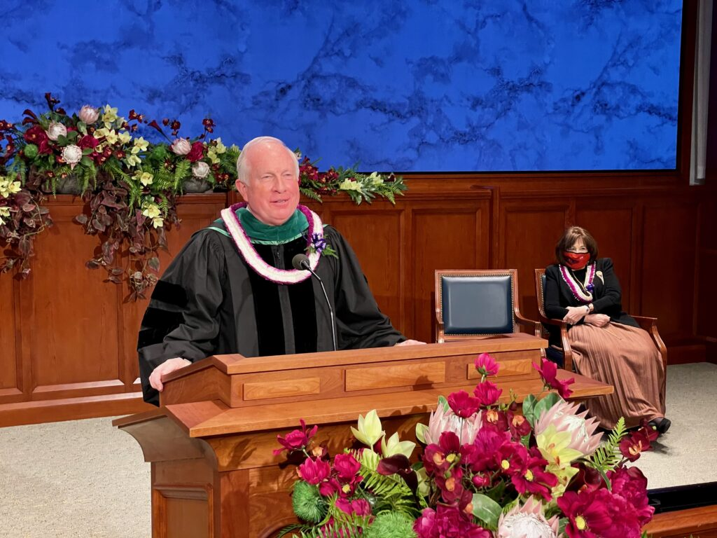 Elder Timothy J. Dyches, a General Authority Seventy, speaks during BYU-Hawaii virtual commencement ceremony broadcast on Saturday, April 17, 2021.