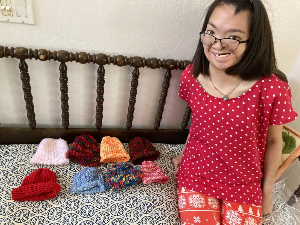 When the COVID-19 pandemic kept her at home, Ashley McKendrick made more than 100 baby hats and donated them to a local hospital. She finished her service mission in March 2021.