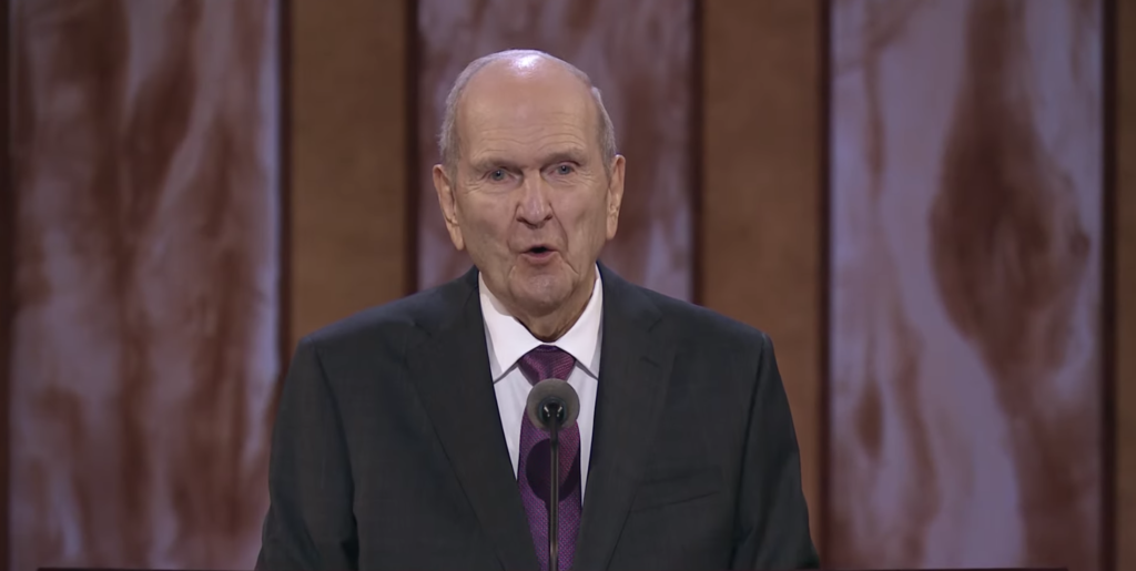 President Russell M. Nelson speaks during the Saturday morning session of the 191st Annual General Conference on April 3, 2021.