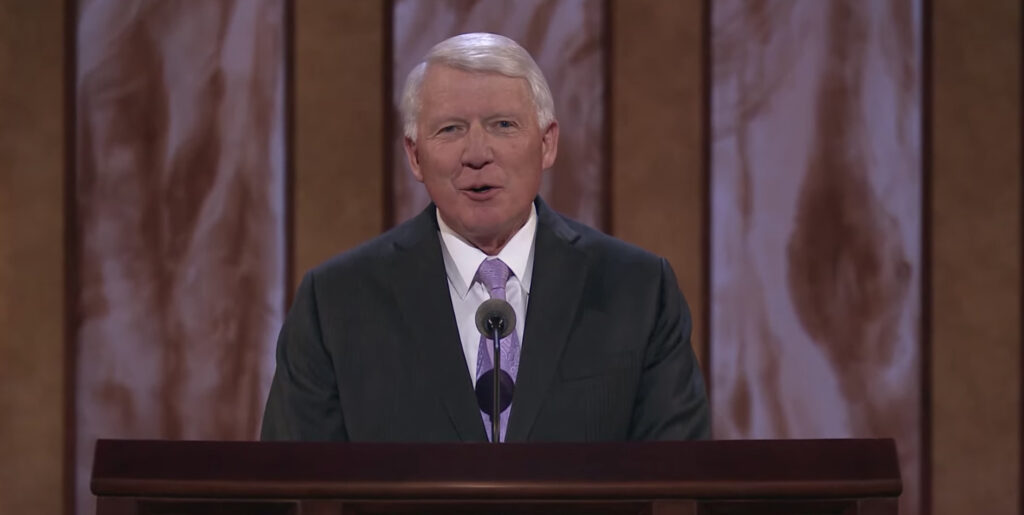 Brother Jan E. Newman speaks during the Saturday morning session of the 191st Annual General Conference on April 3, 2021.