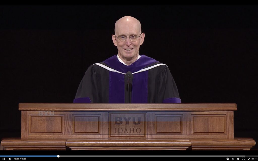 BYU-Idaho President Henry J. Eyring speaks during the BYU-Idaho online commencement services on Thursday, April 8, 2021.