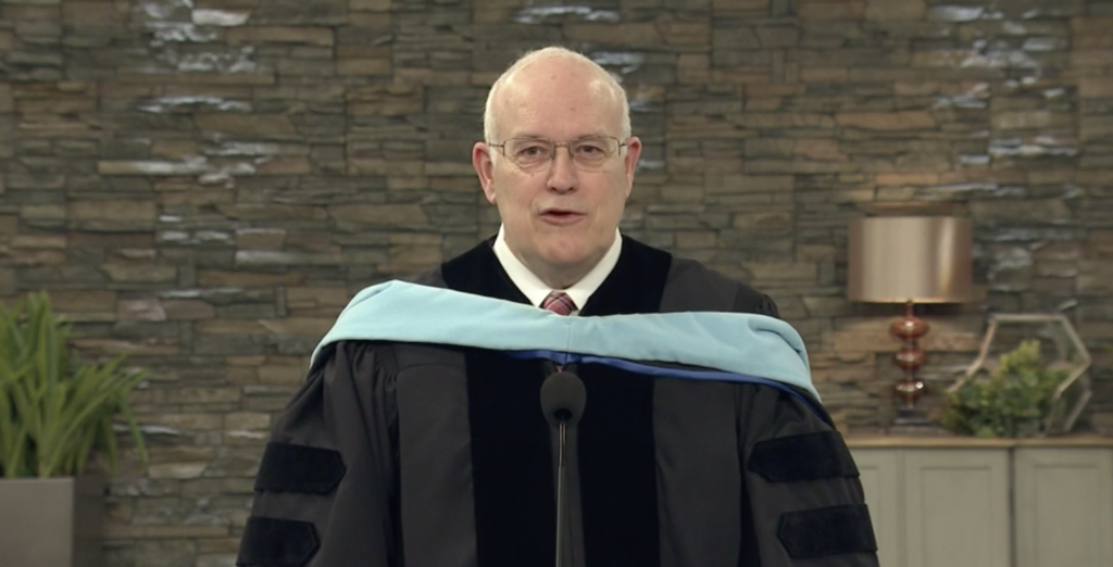 Elder Paul V. Johnson, a General Authority Seventy, addresses graduates during the 134th commencement experiences of Ensign College on Friday, April 9, 2021.