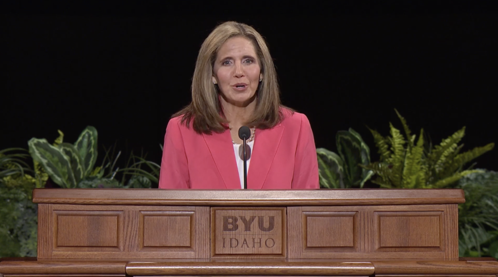 Sister Kelly Eyring addresses students during a BYU–Idaho devotional Apr. 20, 2021.