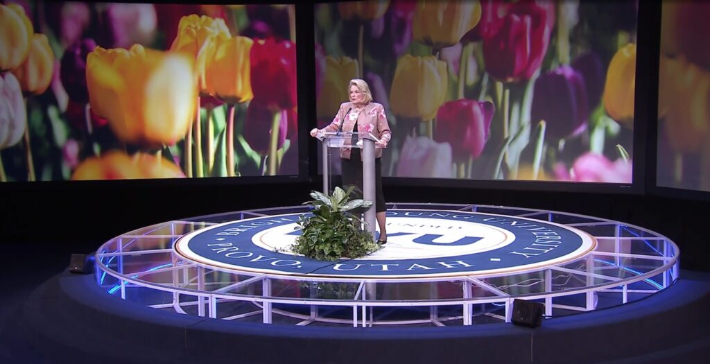 """Sister Sheri Dew speaks on the Lord's """"exceeding great and precious promises"""" during a prerecorded address for the 2021 BYU Women's Conference."""