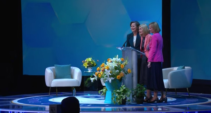 Primary General President Camille N. Johnson, center, and her counselors, Sister Susan H. Porter, left, and Sister Amy A. Wright, right, speak during BYU Women's Conference on Thursday, April 29, 2021.