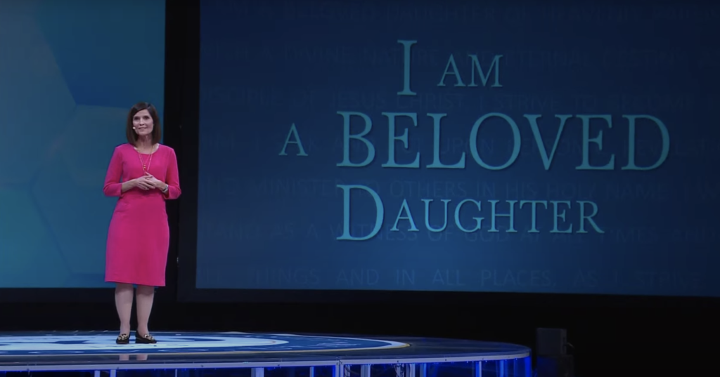 Sister Rebecca L. Craven, second counselor in the Young Women general presidency, speaks during the 2021 BYU Women's Conference on April 29, 2021, at the BYU Marriott Center in Provo, Utah.
