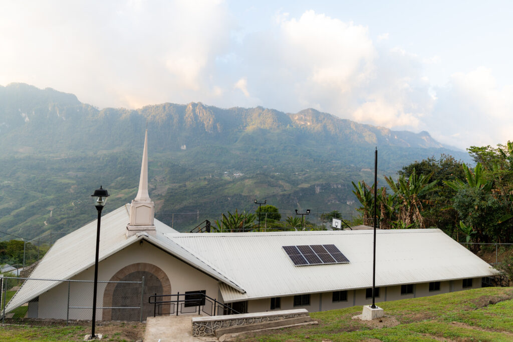 The Tepeyac Branch meetinghouse in the Sierre Madre Mountains of Mexico's Chiapas, with a new solar panel on the roof.