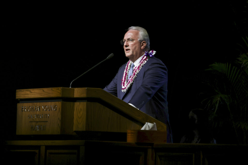 Elder Jack N. Gerard, a General Authority Seventy, speaks at BYU–Hawaii campus devotional held in the Cannon Activities Center in Laie, Hawaii, on Tuesday, May 25, 2021.