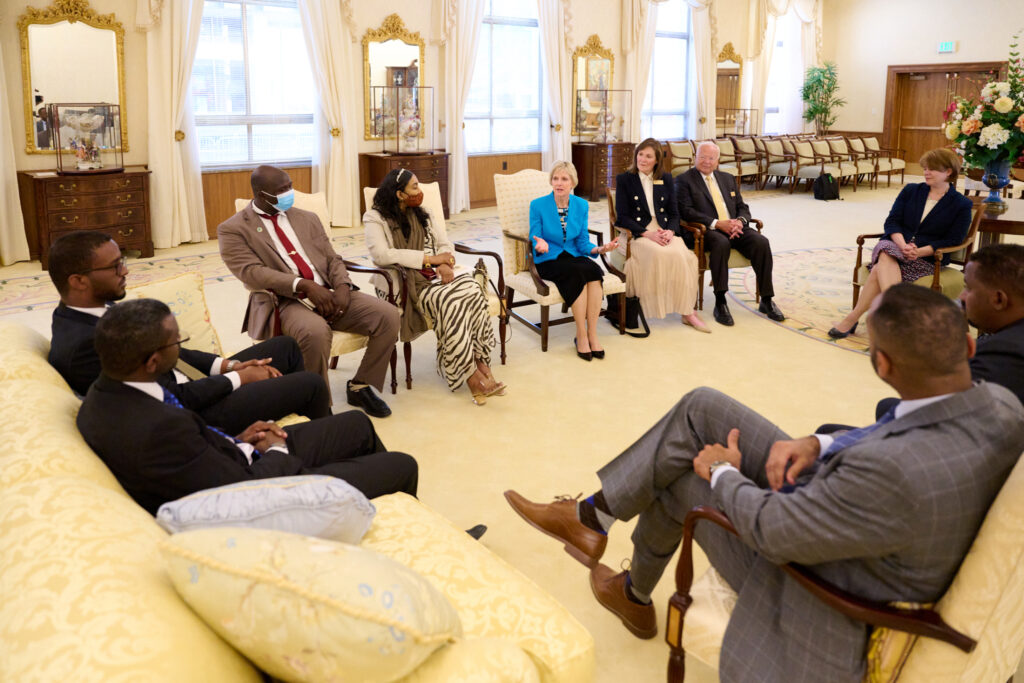 Members of the Relief Society general presidency greet members of a Sudanese government delegation in the Relief Society Building in Salt Lake City on Wednesday, May 19, 2021.