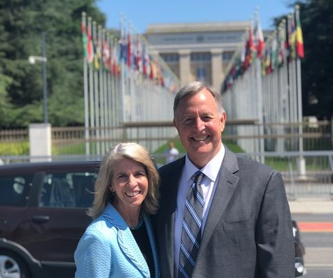 Sister Carol F. McConkie and her husband, Elder Oscar W. McConkie III, are pictured in front of the United Nations office in Geneva, Switzerland. They have served as government affairs missionaries for the Church since April 2019.
