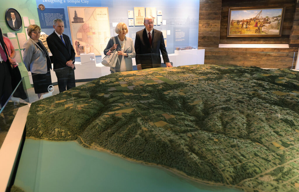 Elder Quentin L. Cook of The Church of Jesus Christ of Latter-day Saints and his wife, Sister Mary G. Cook, tour the Church's visitors center n Nauvoo, Illinois, on Saturday, May 29, 2021.