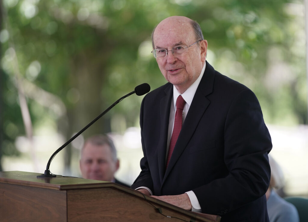 Elder Quentin L. Cook of the Quorum of the Twelve Apostles of The Church of Jesus Christ of Latter-day Saints speaks during the historic Nauvoo Temple District dedication in Nauvoo, Illinois, on Saturday, May 29, 2021.