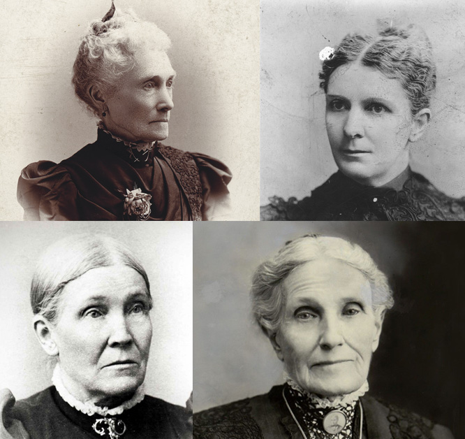 Sarah Melissa Granger Kimball, top left and clockwise are, Ellis Reynolds Shipp, Aurelia Spencer Rogers and Mary Elizabeth Rollins Lightner are all women who were early members of The Church of Jesus Christ of Latter-day Saints.