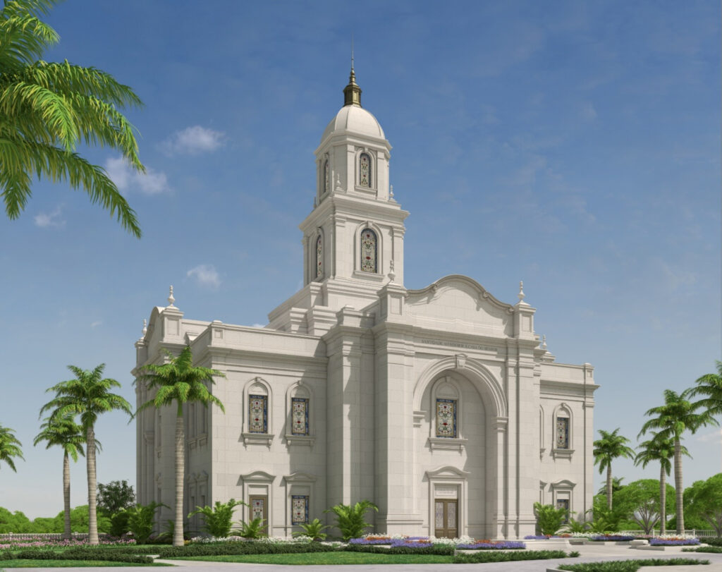An exterior rendering of the Salvador Brazil Temple.