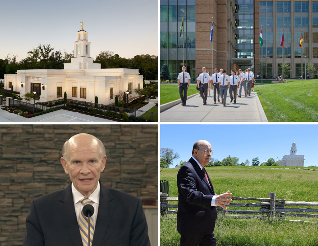 Clockwise from top left, the Baton Rouge Louisiana Temple is one of 60 that will open for proxy work by the end of June; missionaries leave the Provo MTC; Elder Quentin L. Cook of the Quorum of the Twelve Apostles walks near the the Nauvoo Illinois Temple; and Elder Dale G. Renlund of the Quorum of the Twelve Apostles speaks at a missionary devotional.