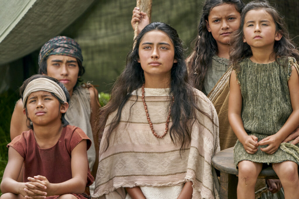 Youth gather to listen to King Benjamin in the Land of Zarahemla, in this scene from the Book of Mormon Videos.